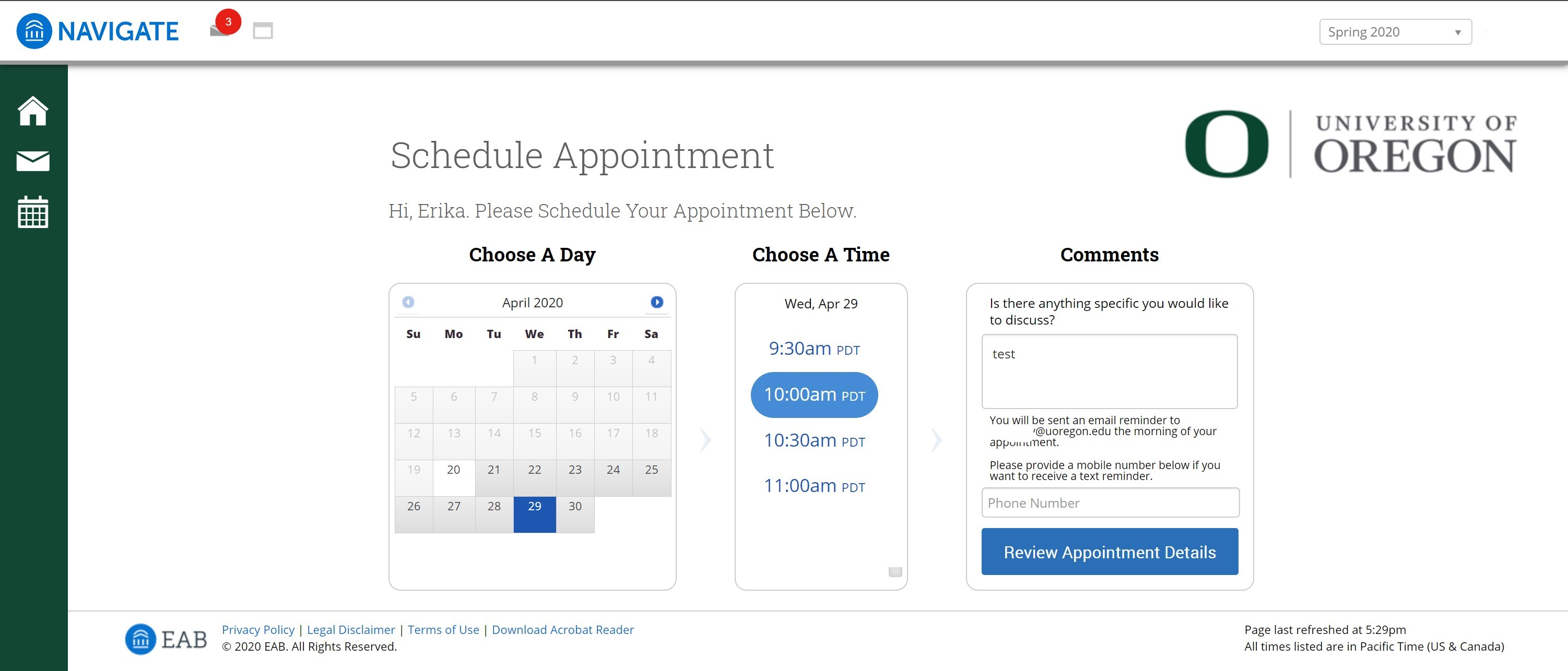 campaign scheduling landing page