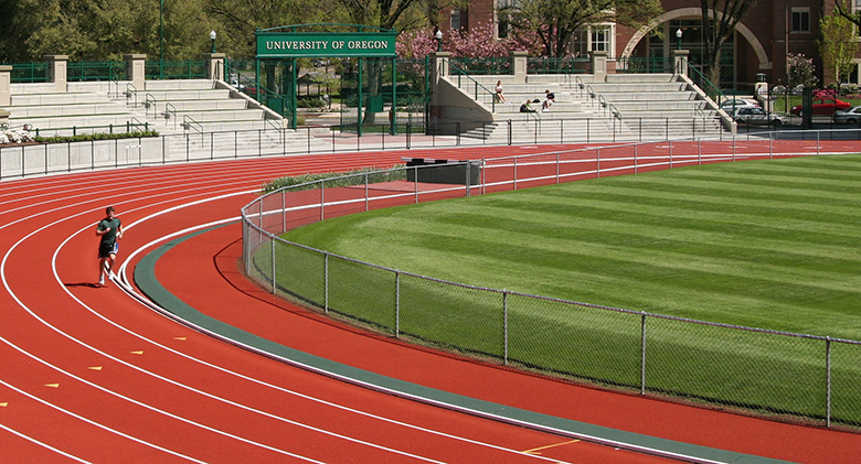 Runner on the Hayward Field track