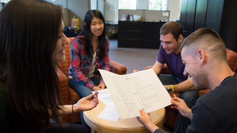 Students reviewing materials